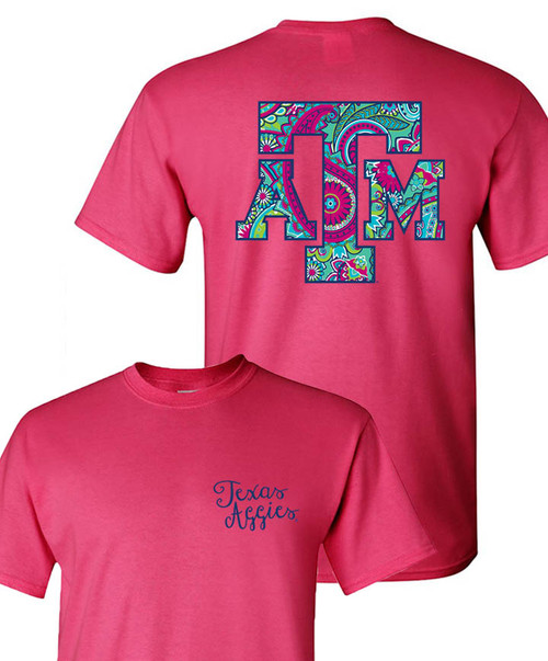 Texas A&M Aggies Youth Paisley ATM Heliconia Pink Short Sleeve T-Shirt