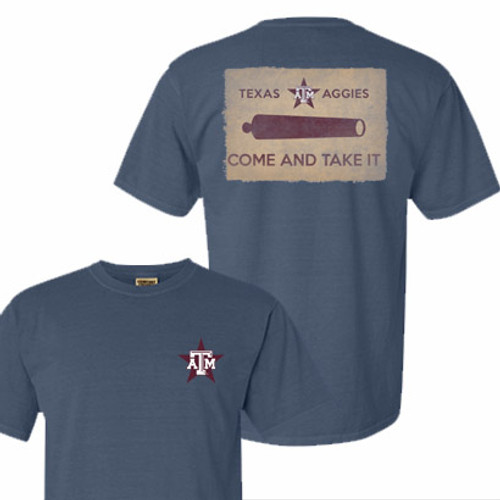 Texas A&M Aggies Come and Take It Blue Jean Comfort Colors Short Sleeve T-Shirt
