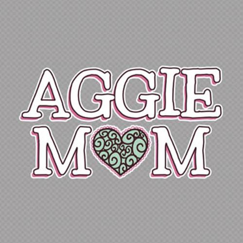 Texas A&M 5 x 2.5 Aggie Mom Heart Decal