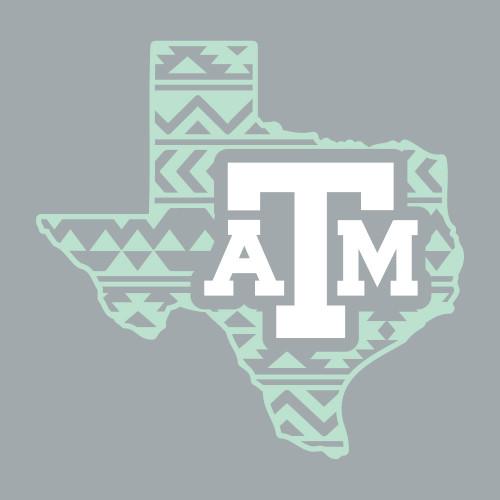Texas A&M Aggies 5 x 5 Tribal Texas Decal   Mint & White