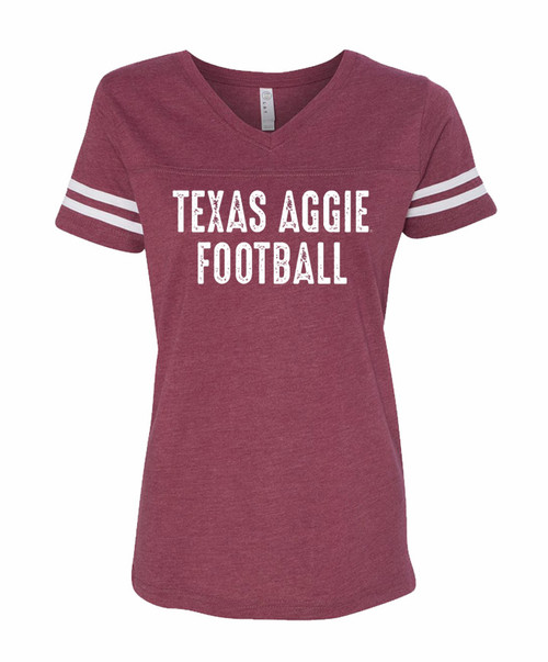 Texas A&M Aggie Football Ladies Short Sleeve V-Neck T-Shirt