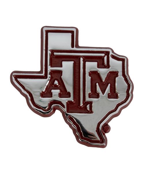 Texas A&M Aggies Maroon Edge State Metal Car Decal