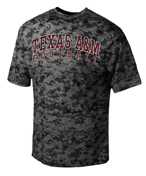 Texas A&M Aggies Black Arch Digital Camo Football Short Sleeve T-Shirt