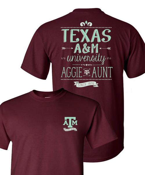 Texas A&M Aggies Maroon Aggie Aunt Short Sleeve T-Shirt