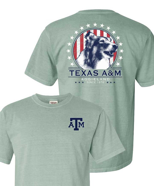 Texas A&M Aggies Comfort Color Reveille 4th of July Short Sleeve T-Shirt
