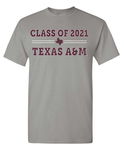 Texas A&M Aggies Class of 2021 Gravel Cotton T-shirt