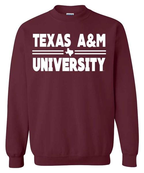 Texas A&M Aggies Maroon Texas A&M University Bar Crewneck Sweatshirt
