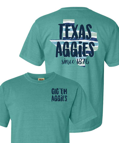 Texas A&M Aggies Comfort Color Watercolor Stripe Short Sleeve T-Shirt