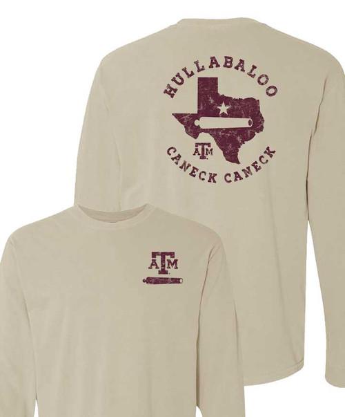 Texas A&M Aggies Comfort Color Khaki Hullabaloo Cannon Long Sleeve T-Shirt