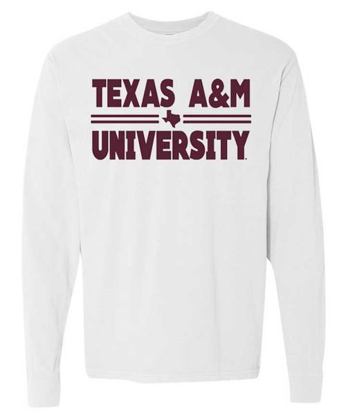 Texas A&M Aggies Comfort Color White Texas A&M University Bar Long Sleeve