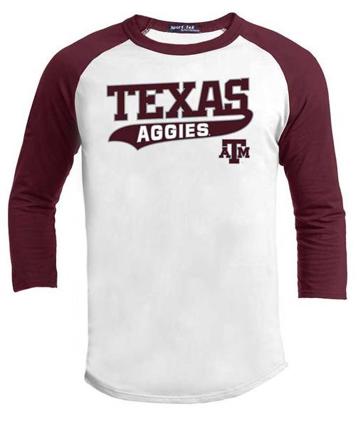 Texas A&M Aggies  3/4 Raglan Swoosh Baseball T-Shirt