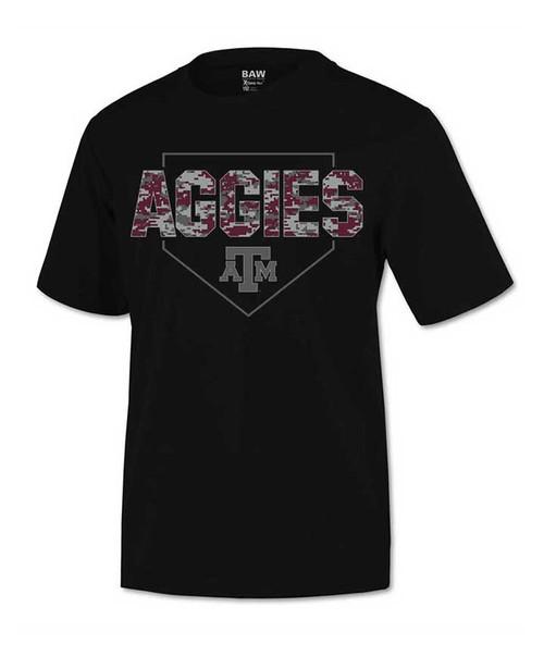 Texas A&M Aggies Youth Black Aggies Digital Camo Short Sleeve Active T-Shirt