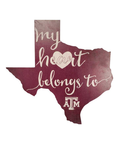 Texas A&M Aggies My Heart Belongs Wood Sign (IN-STORE PICK UP ONLY)