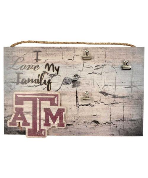 Texas A&M Aggies I Love My Family 11X19 Clip Frame