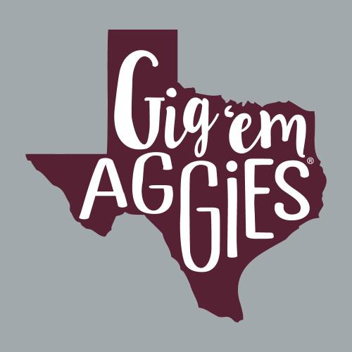 Texas A&M Aggies 5 x 5 Gig 'Em Aggies in Texas Decal | Maroon & White