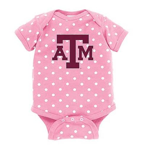 Texas A&M Aggies Infant Pink & White Polka Dot Onesie