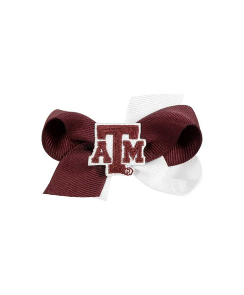Texas A&M Aggies Mini Two Tone Bow with ATM Patch