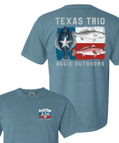 Texas A&M Aggies Outdoors Texas Trio Ice Blue Comfort Colors T-Shirt