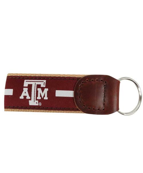 Texas A&M Aggies Silver Ribbon Keychain