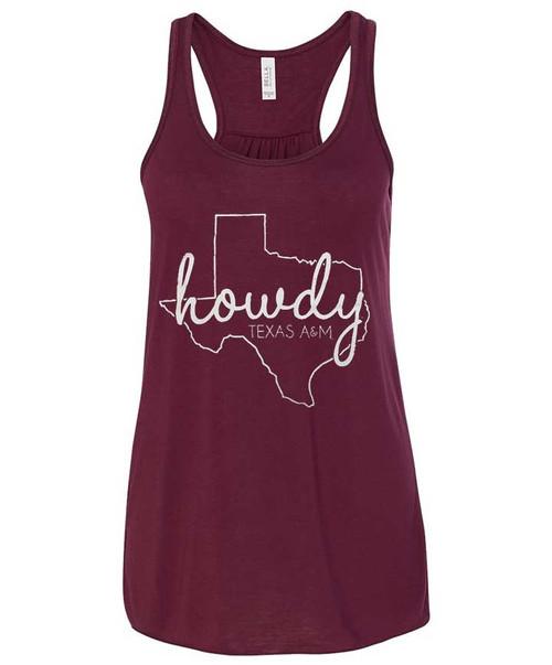Texas A&M Aggies Ladies Howdy Lonestar Flowy Maroon Tank Top