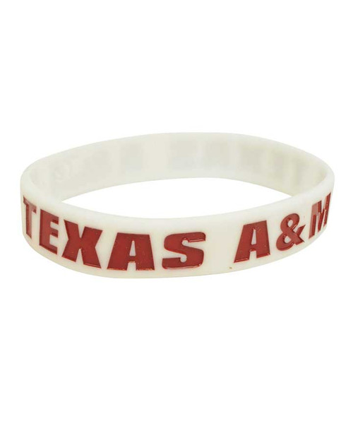 Texas A&M Aggies White Silicone Wristband