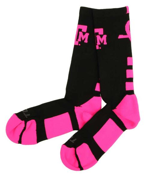 Texas A&M Aggies Black & Pink Baseline Aware Crew Socks