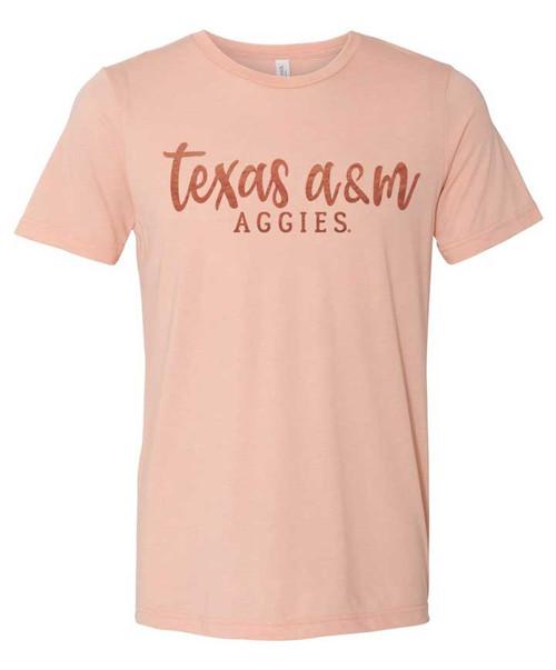 Texas A&M Aggies Rose Gold Foil Peach Triblend Short Sleeve T-Shirt