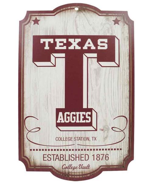 Texas A&M University Vault Wood Sign 11x17