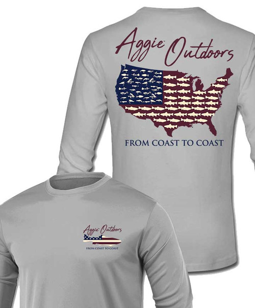 From Coast To Coast - Aggie Outdoors   Long Sleeve Active Fishing T-Shirt