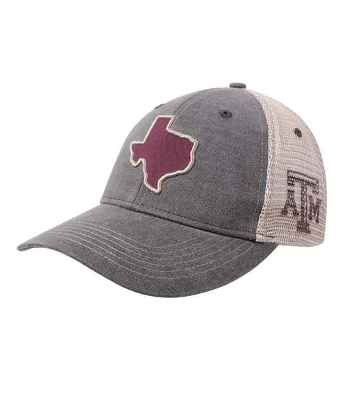 Texas A&M Aggies Dark Washed Grey and Khaki Lonestar Twill Patch Mesh Back Cap