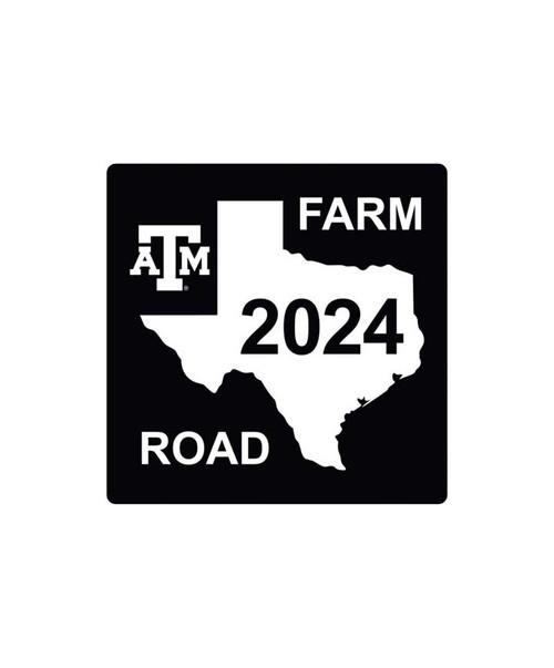 Texas A&M Aggies 4 x 4 Class of 2024 Farmroad Decal   Black & White