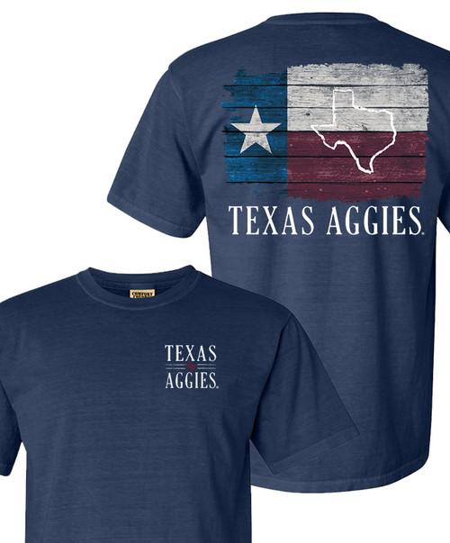 Texas Aggies Comfort Colors Wooden Flag T-Shirt