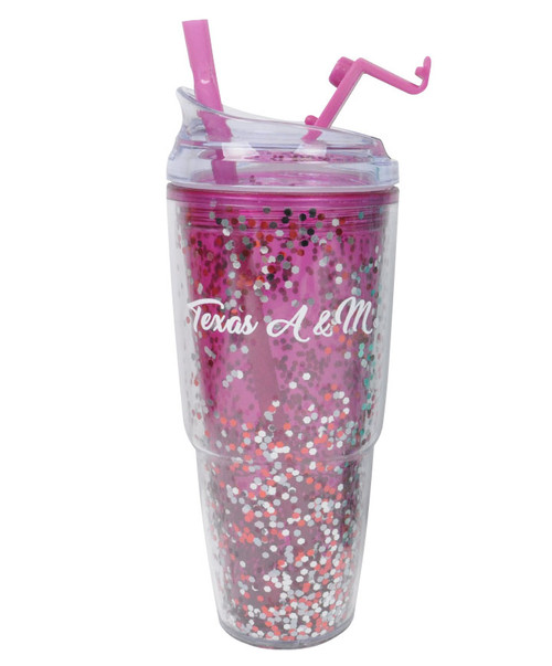Texas A&M Glitter Dual Tumbler | Magenta