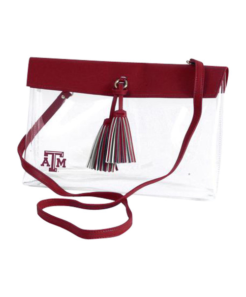 Clear Gameday Purse With Maroon Tassel  & Strap