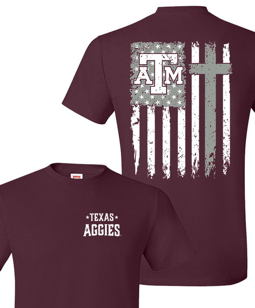 Maroon Distressed Flag With Cross Short Sleeve T-Shirt - Aggie Faith Collection