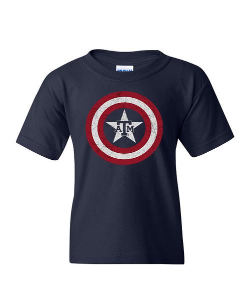 Texas A&M Logo Inside Star Youth Short Sleeve T-Shirt - Navy