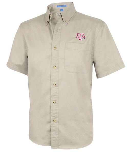 Texas A&M Aggies Men's Logo Short Sleeve Button Up - Khaki