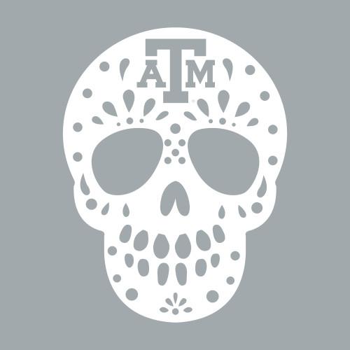 Texas A&M Aggies 2.25 x 3 Sugar Skull Decal | White