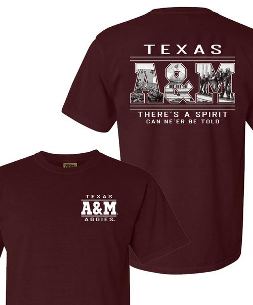 Texas A&M Aggies Landmark Fill Comfort Colors Short Sleeve T-Shirt - Maroon