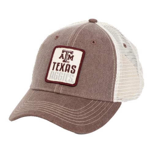Texas A&M Aggies Maroon/Stone Texas Aggies Leather Patch Cap