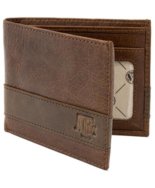 Texas A&M Aggies Logo 2-Tone Billfold Wallet - Tan
