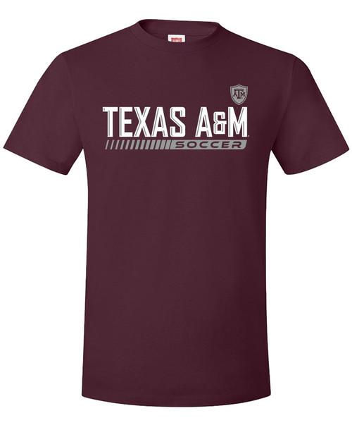 Texas A&M Aggie Soccer Wordmark Short Sleeve T-Shirt - Maroon