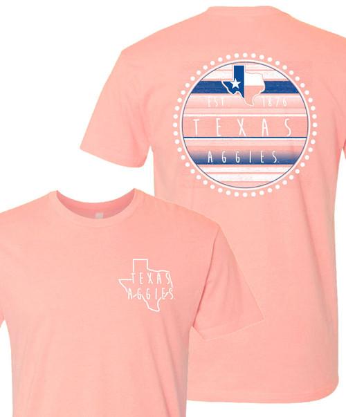 Texas A&M Aggies Lonestar EST 1876 Short Sleeve T-Shirt - Desert Pink