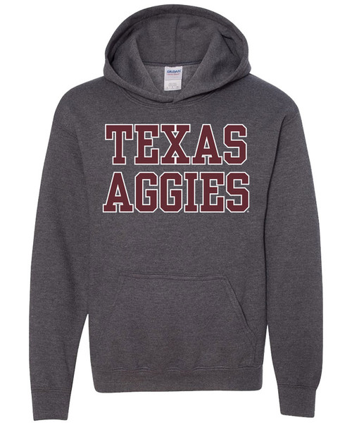 Texas A&M Aggies Youth Stacked Hood - Dark Heather