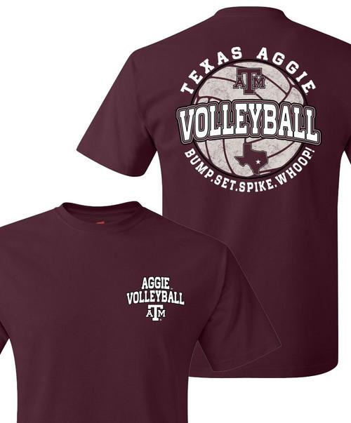 Texas A&M Aggie Volleyball Bump.Set.Spike.Whoop! Short Sleeve T-Shirt - Maroon