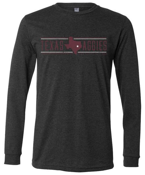 Texas A&M Aggies 12th Man Bella+Canvas Long Sleeve T-Shirt - Dark Heather Grey