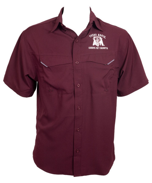 Maroon Corps Fishing Shirt - Corps Of Cadets Collection   Pro Celebrity
