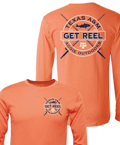 Youth Texas A&M Get Reel Aggie Outdoors Long Sleeve Active T-Shirt - Peach