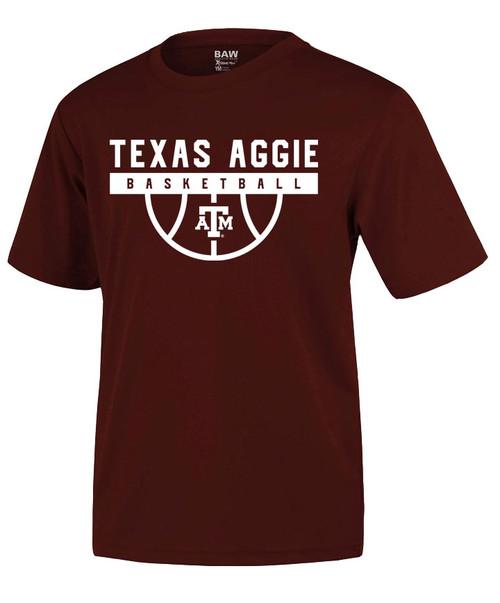 Texas A&M Aggie Youth Basketball Wordmark Active Short Sleeve Tee - Maroon