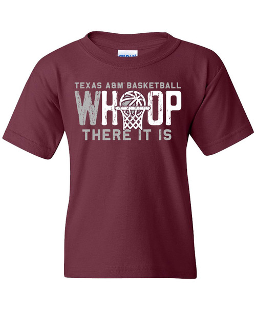 Texas A&M Youth Aggie Basketball Whoop There It Is Short Sleeve T-Shirt - Maroon